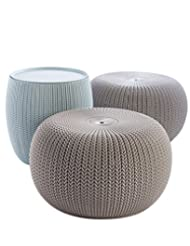 Keter 3-piece Cozy Urban Knit Furniture Set, Compact Indoor/O...