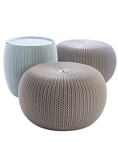 Keter Urban Knit Pouf Ottoman Set of 2 with Storage Table for Patio Decor, Dune/Misty Blue (Ottoman Coffee Living Room Table)