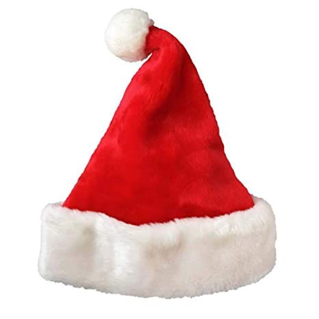 ac6d4e6a62b Image Unavailable. Image not available for. Color  SHENGZ Thickened Santa  Claus Hat Short Plush Christmas ...