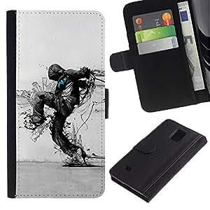 Paccase / Billetera de Cuero Caso del tirón Titular de la tarjeta Carcasa Funda para - Nature Protection Ecological Distruction Art - Samsung Galaxy Note 4 SM-N910