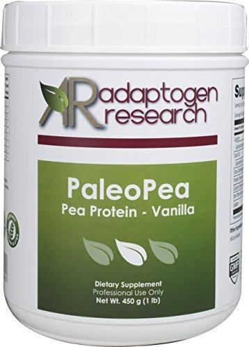 Paleo Pea, Natural Pea Protein Isolate Powder, Dairy-Free Diet + Vegan + Non-GMO Peas, 1 lb (450 grams) - Vanilla Flavor by Adaptogen Research