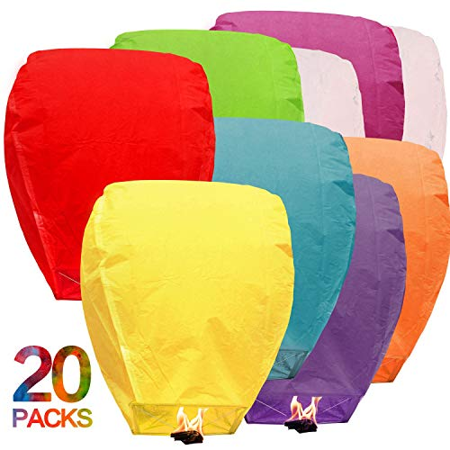Maylai 20Pcs Sky Lanterns Flying Paper Lanterns Chinese Wish Lanterns for Birthday Wedding Party Anniversary Chinese Lanterns Assorted Colors 100% Biodegradable Environmentally Friendly! -