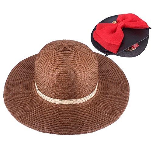 YOPINDO Girl Hat Purse Set Straw Sun Hat Floppy Summer Beach Cap with Hand Bag (Style B-Black 1) ()