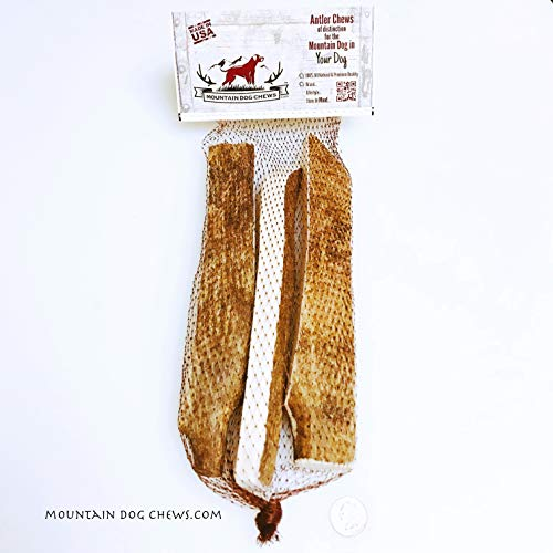 Mountain Dog Chews X-Large Moose Antler Dog Chew Strips 3-Pack Mammoth Moose Antler Strips Antler Dog Chew [10+ Inches Long] 100% Organic USA Sourced Grade-A+ Naturally Shed Moose Antler Strips - Moose Shed Antlers