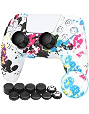 Benazcap Silicone Skin Accessories for PS5 DualSense Wireless Controller Grip Covers Case with Anti-Slip Silicone Dustproof Protective, PS5 Controller Skin x 1, with Thumb Grip x 10 - White Camouflage