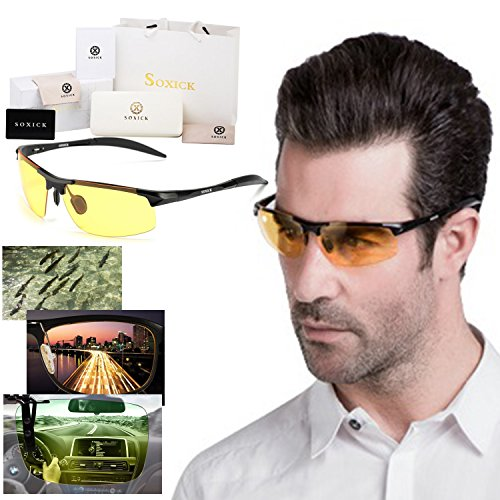 Soxick HD Metal Night Driving Polarized Semi-Rimless Sport Sunglasses for Men - Lens Semi Full