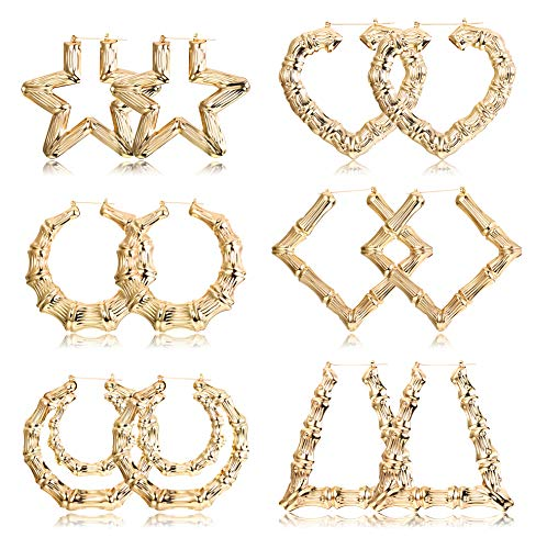 Hanpabum 6 Pairs Large Bamboo Hoop Earrings Set Gold Plated Statement Hip-Hop Earrings for Women Girls (Bamboo Hoop Earrings Gold)