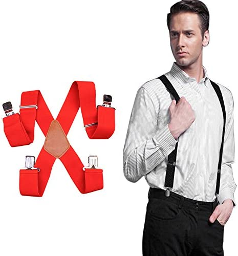 Mens Suspenders Wide Adjustable Elastic X Shape with Strong Clips Heavy Duty