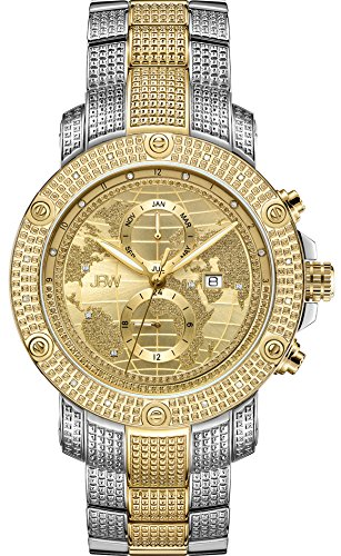 - JBW Luxury Men's Veyron 0.18 Carat Diamond Wrist Watch with Stainless Steel Link Bracelet
