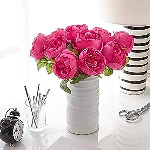 MARJON FlowersArtificial Peony Silk Flower Bouquet for Wedding Floral Arrangements and Home Decoration - Fushia Red Color, 5 Stem Per Set 69
