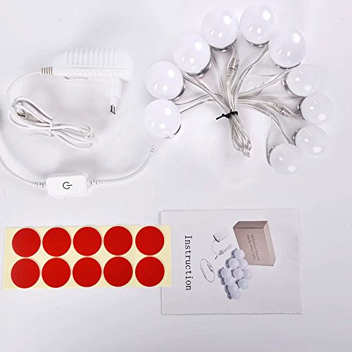 SUMAI LED Vanity Mirror Lights, Hollywood Style Makeup Lighting of 10 Bulbs with Aluminum Base for Cosmetic Table Set