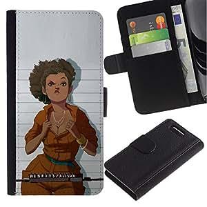 All Phone Most Case / Oferta Especial Cáscara Funda de cuero Monedero Cubierta de proteccion Caso / Wallet Case for Sony Xperia Z1 Compact D5503 // taza de la cárcel la mujer tiro mono naranja