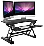 Mount-It! Standing Desk Sit-Stand Desk Converter With Keyboard Tray, Height Adjustable 35 Inch Wide For Dual Monitors, Ergonomic, Gas Spring Arm, Free Standing, Easy Installation, Black