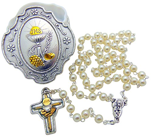 Rosary Beads Italian Charm - Girls First Holy Communion Rosary Gift Set with Glass Bead Rosary & Italian Metal Case