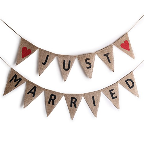 Sunny ZX Just Married Banner Linen Flag Jute Burlap Pennant Wedding Party Decor (Cars Banner Sign)