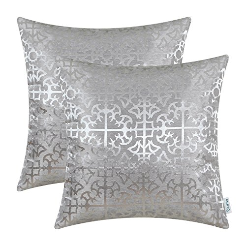 CaliTime Pack of 2 Throw Pillow Covers Cases for Couch Sofa Home Decor Vintage Shining & Dull Contrast Cross Flowers Trellis Geometric Figure 18 X 18 Inches Silver -