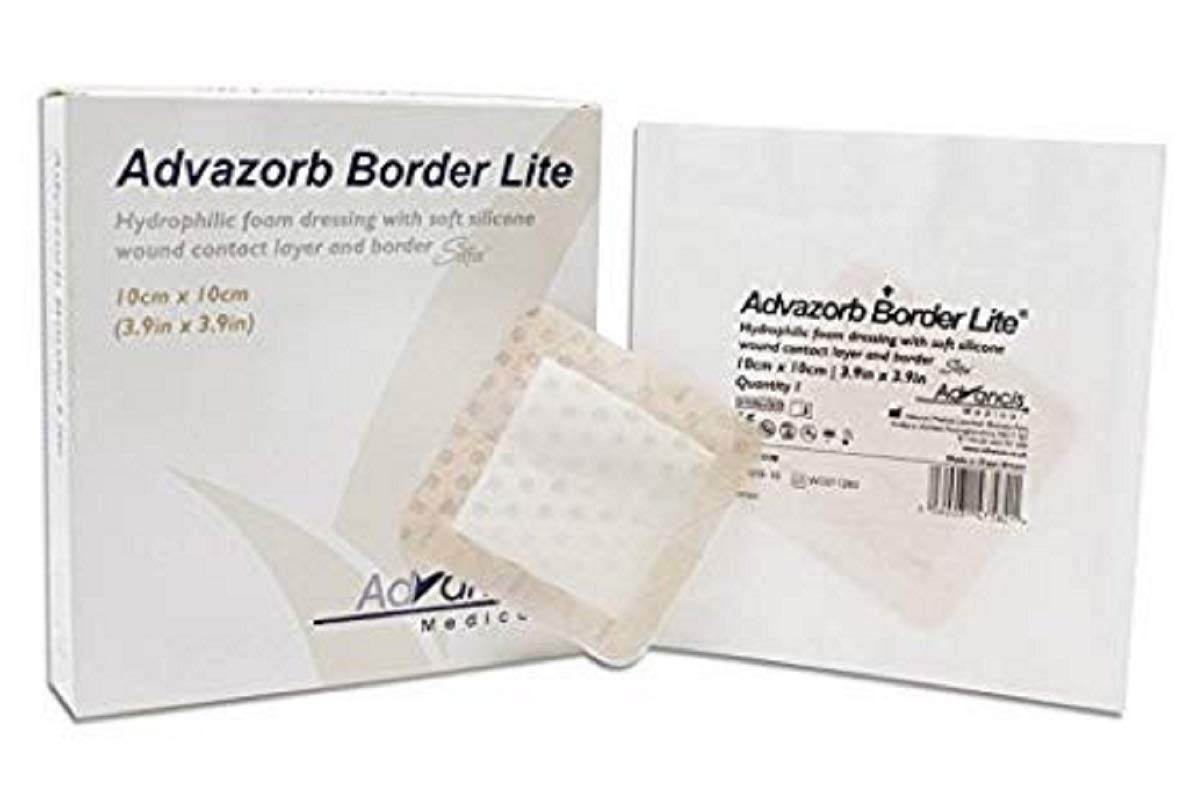Hydrophilic Foam Dressing with Border and Silicone Lite 8 x 8. Pack of 10 Sterile Surgical Wound Dressing. Hypoallrgenic, Single use Hydrophilic dressings. Wound Bandage. Latex-Free. by AMZ Medical Supply