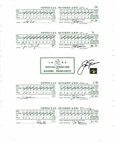 Jack Nicklaus Autographed 1986 Masters Scorecards - Fanatics Authentic Certified - Autographed Golf (Masters Golf Card)