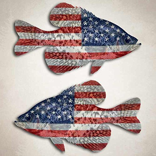 American Flag Crappie Fishing Decal Angler Boat (Crappie Decal)
