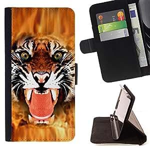 BullDog Case - FOR/Samsung Galaxy S5 V SM-G900 / - / tiger angry face big cat teeth green eyes /- Monedero de cuero de la PU Llevar cubierta de la caja con el ID Credit Card Slots Flip funda de cuer
