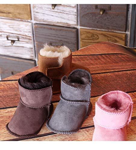 Bebila Genuine Sheepskin Baby Snow Boots Warm Winter First Walker Toddler Shoes Boys Girls