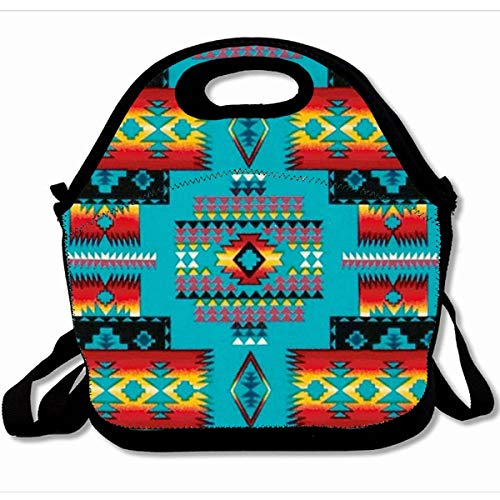 - Ahawoso Reusable Insulated Lunch Tote Bag Tribal Native American Indian Western 10X11 Zippered Neoprene School Picnic Gourmet Lunchbox