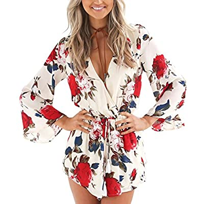 Relipop Women's Floral Print Long Sleeves Short Romper Playsuit Jumpsuit: Clothing