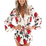 Relipop Women's Fashion Floral Print Long Sleeves Short Romper Playsuit Jumpsuit (Medium, Red)