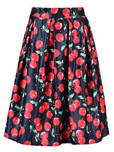 persun-women-cherry-print-mid-skater-skirt-in-black