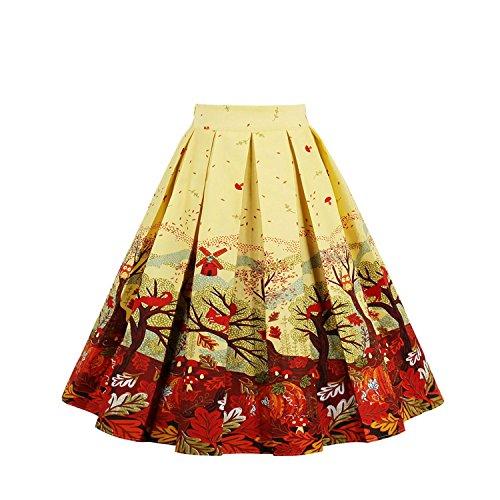 Annes Haute Jupe A Jupe NALATI Ligne Evas Jupe Floraux VintageJupe Jupe Style Swing Pliss Femme Jupe Clair de Imprime de Jaune 50 Jupe Taille SSqZt