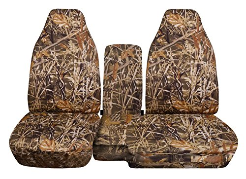 (2004-2012 Ford Ranger/Mazda B-Series Camo Truck Seat Covers (60/40 Split Bench) w Center Console/Armrest Cover: Wetland Camouflage (16 Prints) 2005 2006 2007 2008 2009 2010)