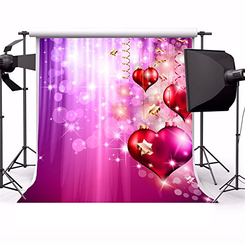 Laeacco 6x6ft Vinyl Backdrop Valentine's Day Photography Background Flyer with a Glitter Vintage Backdrop Glossy Red Hearts Balls Presents Sparkling Celebration Purple Shiny Photo Studio Props (Halloween Flyer Background)