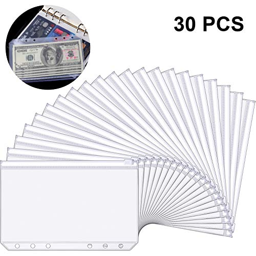 30 Pieces A6 Size 6 Holes Binder Pockets Plastic Binder Zipper Folders Waterproof 6 Holes Zipper Loose Leaf Bags for Documents Notebooks Cards (Best Notebook For The Money)