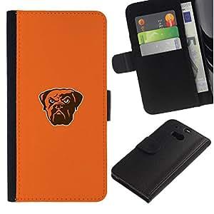 NEECELL GIFT forCITY // Billetera de cuero Caso Cubierta de protección Carcasa / Leather Wallet Case for HTC One M8 // Bulldog fresca enojado