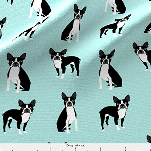 Spoonflower Dogs Fabric Boston Terriers Mint Cute Dog Fabric Best Dog Design Best Light Mint Dog Black And White by Petfriendly Printed on Basic Cotton Ultra Fabric by the Yard - Boston Terrier Fabric