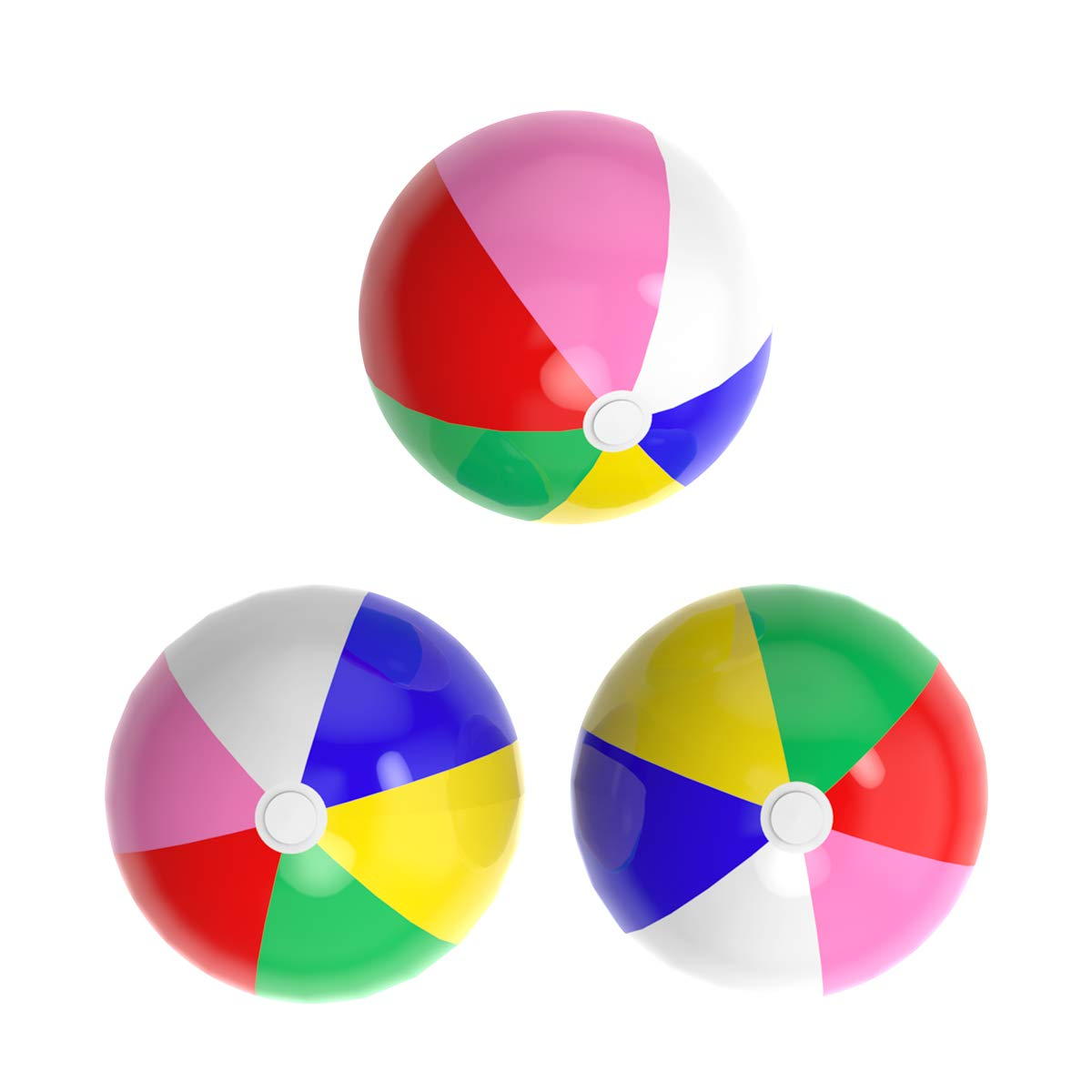 Acevery Inflatable Beach Balls, 24'' Rainbow Beach Balls- Beach Pool Party Toys (3 Pack)