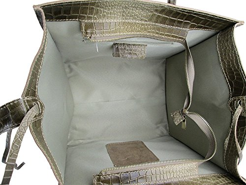 Borsa vera pelle Made in italy genuine leather FG Celin New crocodile