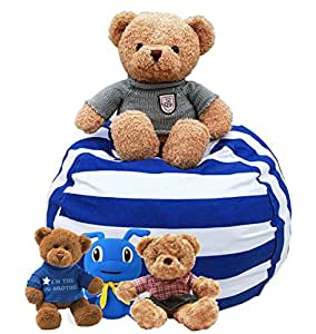 Stuffed Animal Bean Bag Storage - Sit n Stuff - Kids Soft Toys Sack and Children Pouf Chair, Premium Cotton Canvas Bedroom Organizer Box - best Storage Solution for Plush Toys, Towels, Clothes (68cm (27inches), Blue-White Striped)