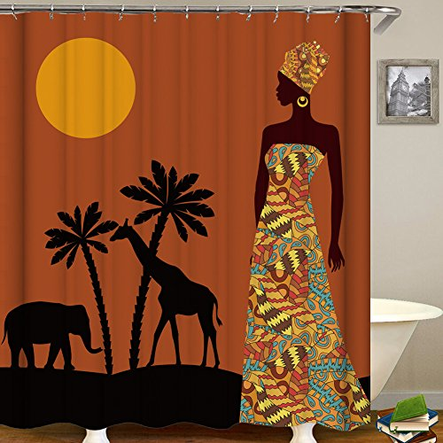 African Fabric Bed - QCWN Afro Ethnic Decor Shower Curtain African Woman Tribal Life Graphic Print Polyester Fabric Bathroom Curtains with Hooks (2, 70