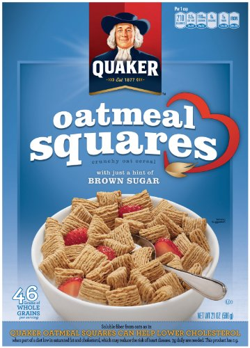 Quaker Oatmeal Squares, Crunchy Oatmeal Cereal with a Hint of Brown Sugar, 21-Ounce Boxes (Pack of 6)
