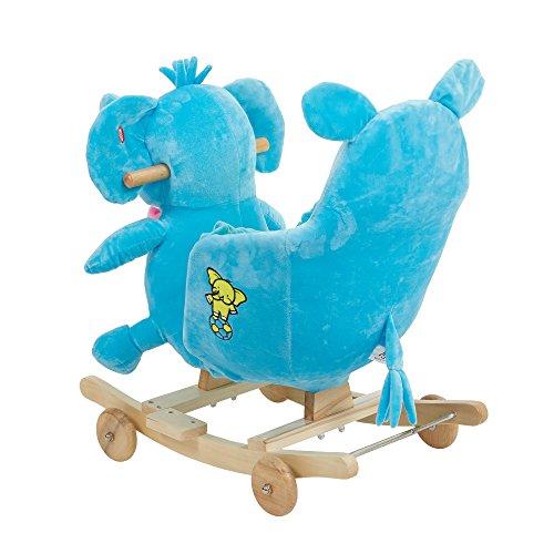 Karmas Product Kids Plush Rocking Horse with Wheels Lovely Elephant Shape Blue