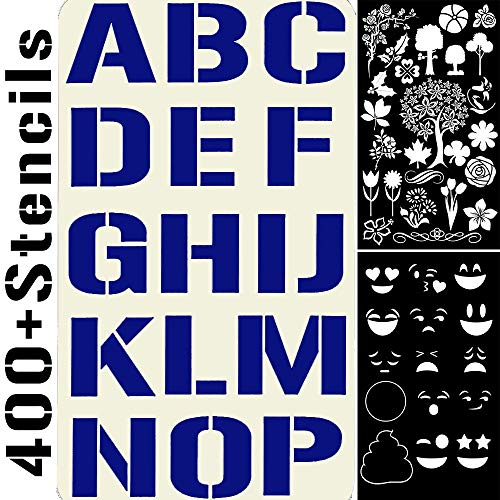 20 Stencils Set Alphabet Letters Numbers for Art and Craft DIY, Face Paint, Bullet Journal, Planner Writing, Doodle Drawing, Decorate Fabric Wood Rock Glass Ceramic Porcelain -Reusable Stencil 4x7in]()