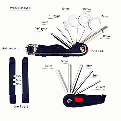 Bike Tool Kit - 19-function Bike Multi Tool for Mountain Biking and Cycle Repair with Spoke Wrenches, Screwdrivers, Tire levers and Chain Tool by BOY (Image #2)