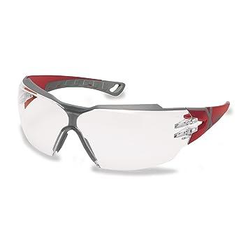 Uvex Sportbrille Schutzbrille Arbeitsbrille 9198 pheos cx2 mit X-Brand Geeignet für Kombination mit Gehörschutz (rot/grau) inkl. Microfaserbeutel j2uvW7W