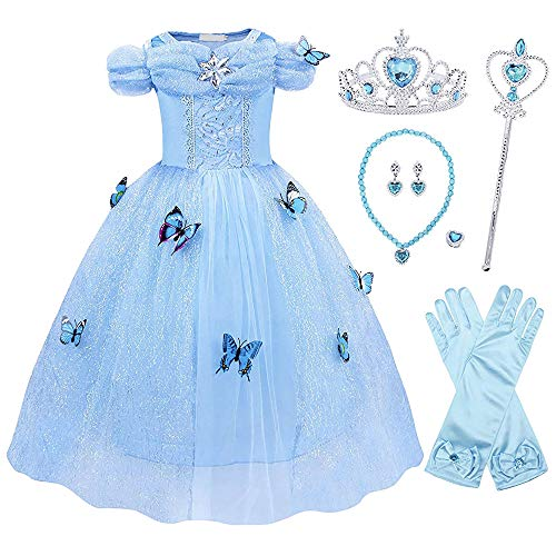 Pettigirl Girls Princess Dress Blue Butterfly Queen