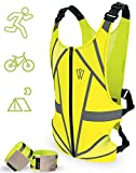 Reflective Running Vest - Reflective Gear for Running, Cycling, Jogging, Walking, Outdoor Sports, Motorcycle   Adjustable   Front Zipper   Back Pocket   Bonus 2 Adjustable Bands - for Men and Women