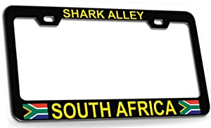 Custom Brother - SHARK ALLEY SOUTH AFRICA South African Steel Metal License Plate Frame Black Yl