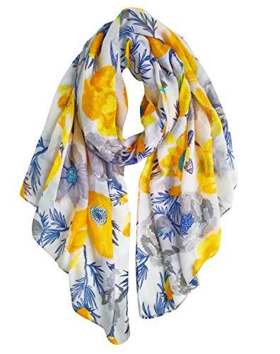 GERINLY Soft Warm Shawl Wrap: Pastel Flowers Print Scarves