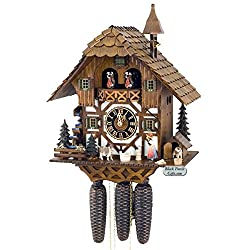 8 Day Musical Black Forest Chalet Cuckoo Clock with Bell Ringer By Hones