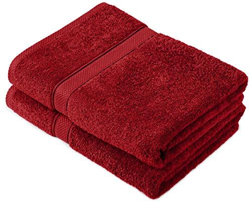 Pinzon by Amazon Lot de 2 draps de bain en coton Rouge Canneberge